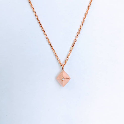 Octahedron necklace with diamonds