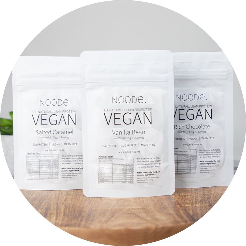 Vegan Natural Pea Protein Travel Pack 30 Serves Noode Nutrition 30x Chocolate