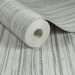 Light Grey Jute Wallpaper