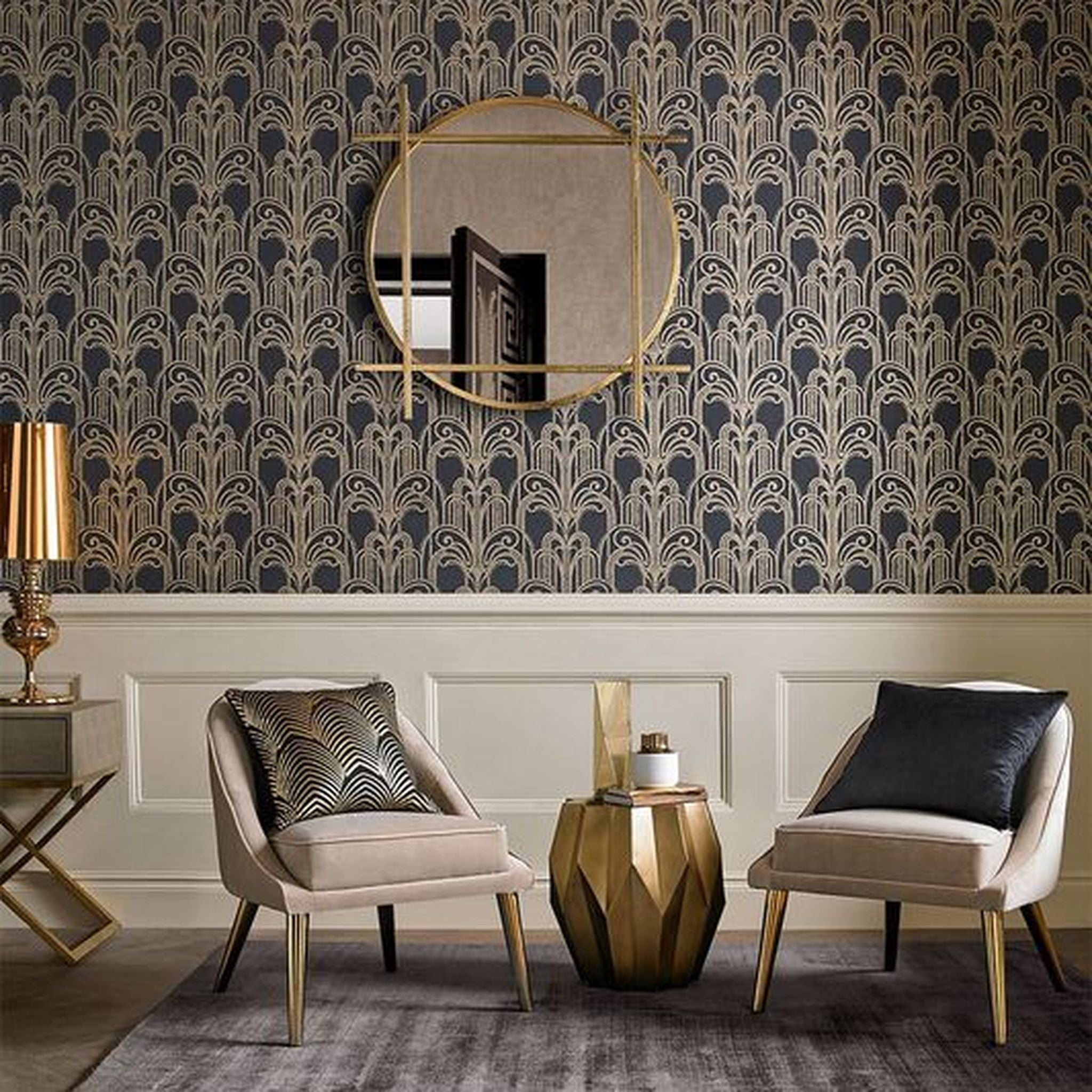 Art Deco Black & Gold Wallpaper