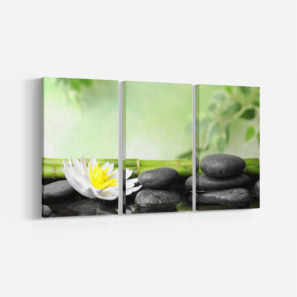 Bamboo & Petals_3 Piece Split Canvas