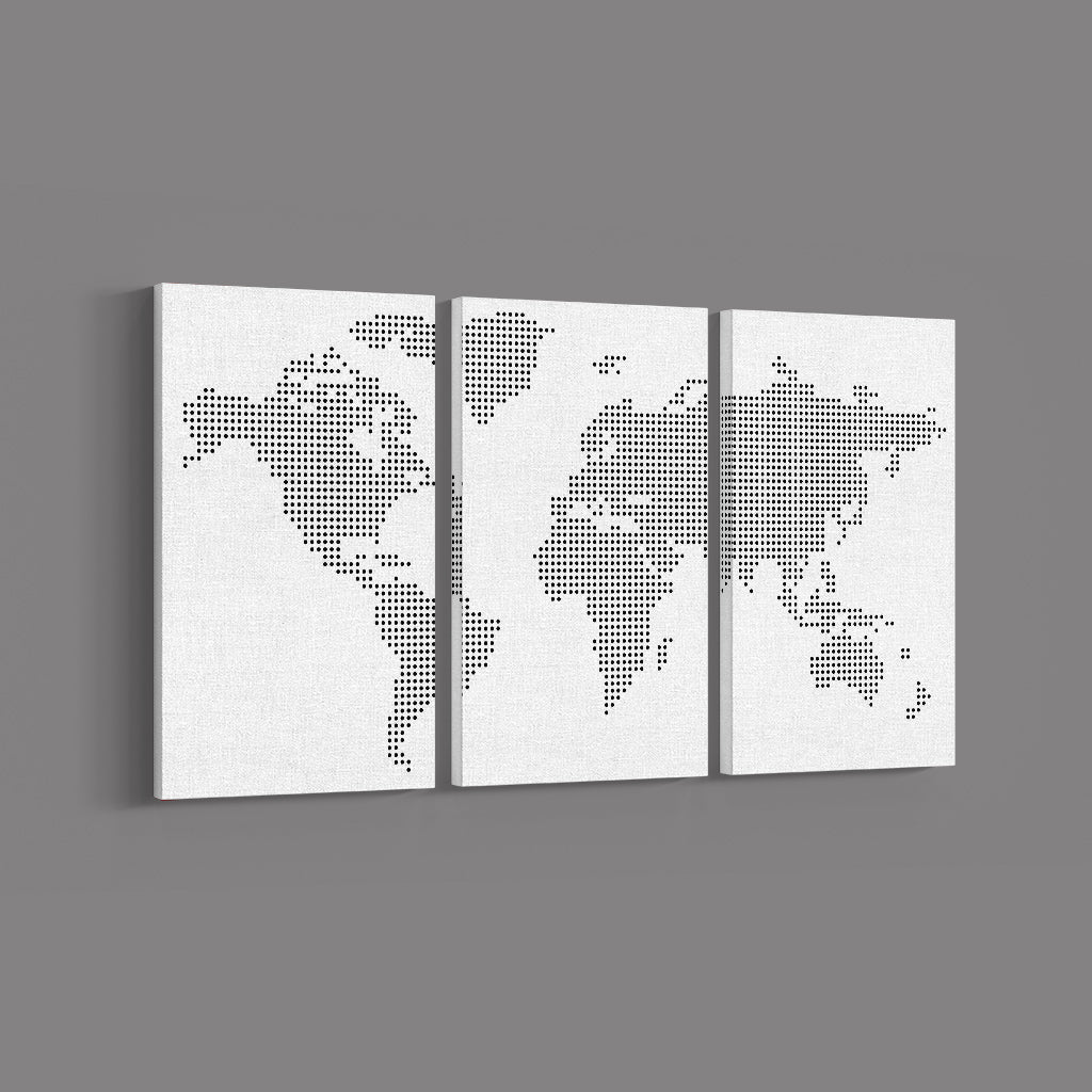 Dotted World Map _3 Piece Split Canvas