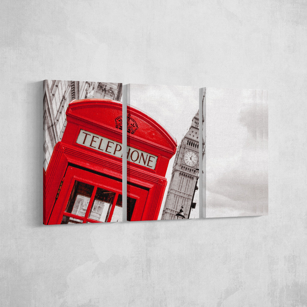 London Phone Booth _3 Piece Split Canvas