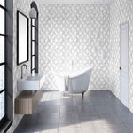 Marble Marquetry White & Rose Gold Wallpaper