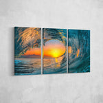 Sunset Wave _3 Piece Split Canvas