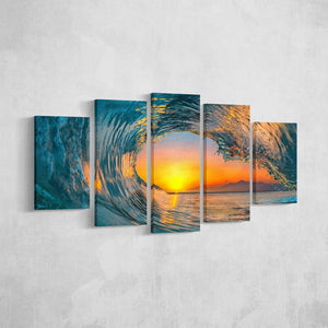 Sunset Wave _5 Piece Split Canvas