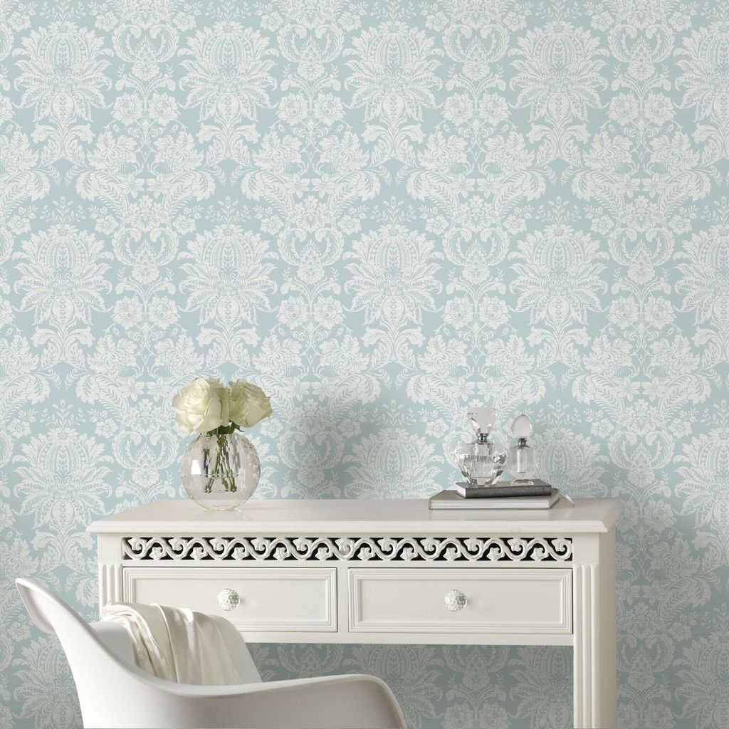 Venetian Damask Blue Wallpaper
