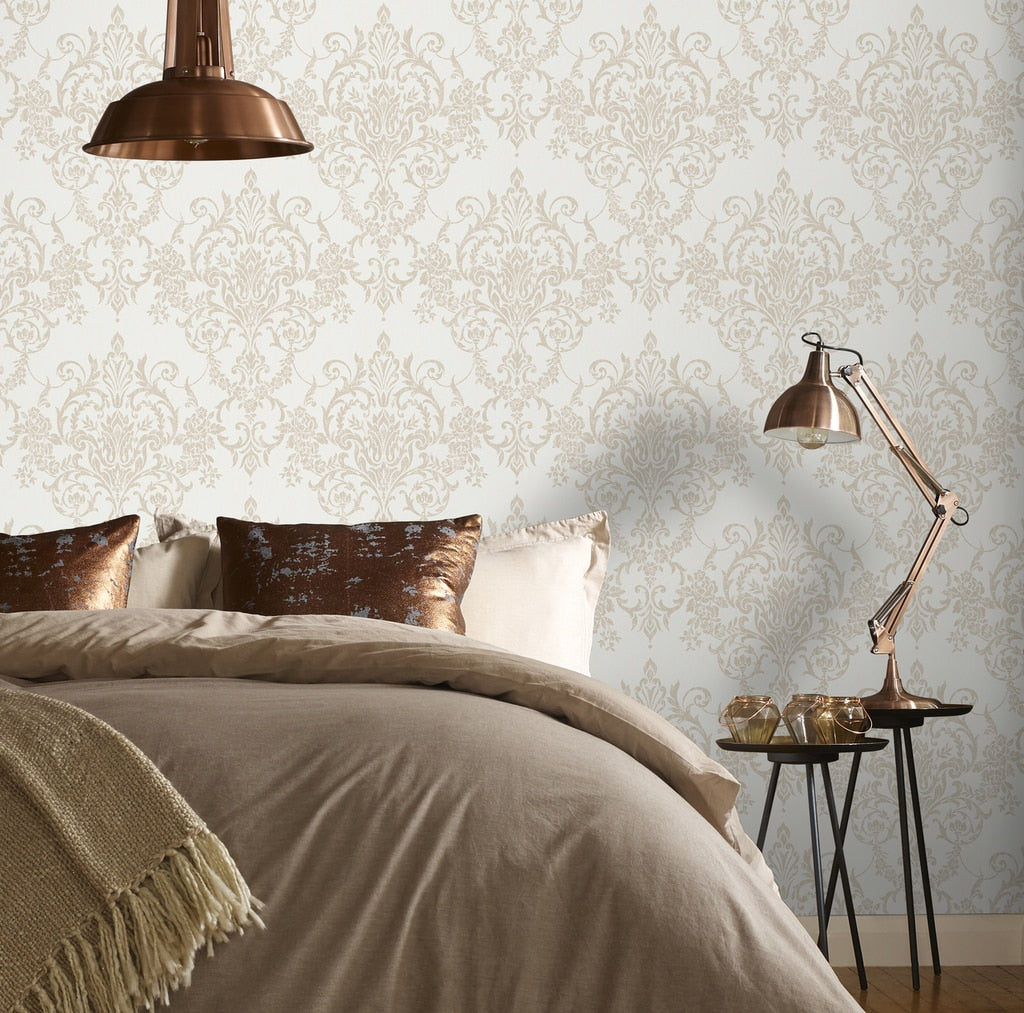 Victorian Damask Gold Wallpaper