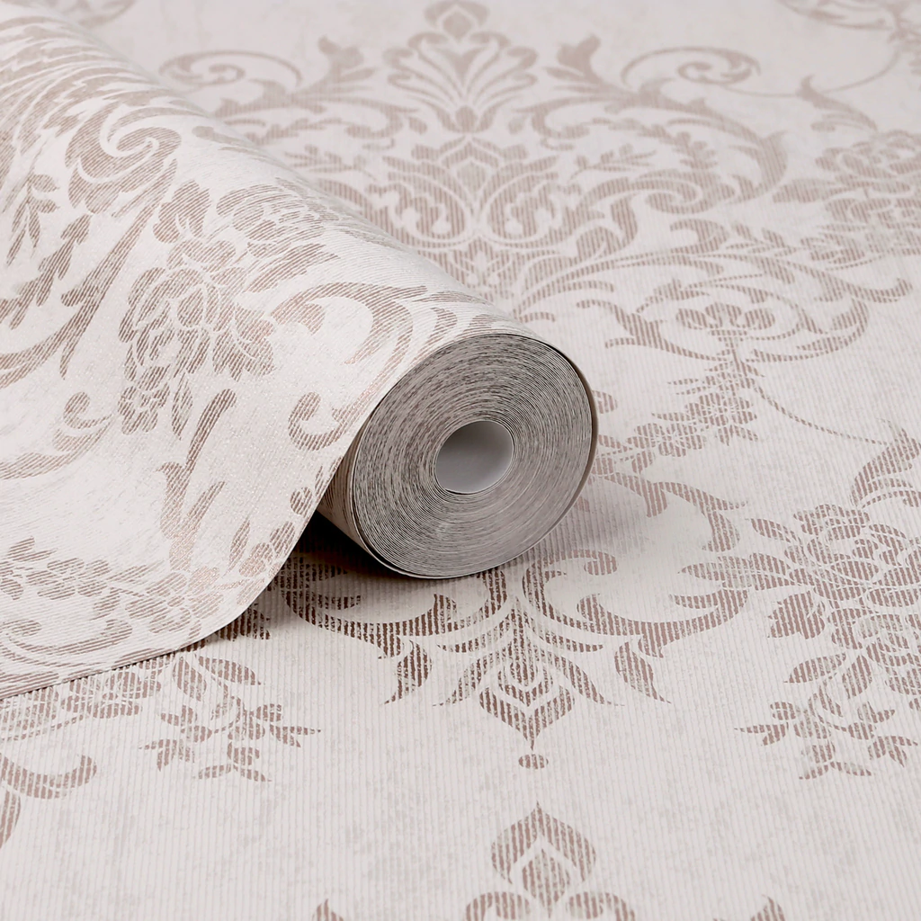Victorian Damask Rose Gold Wallpaper