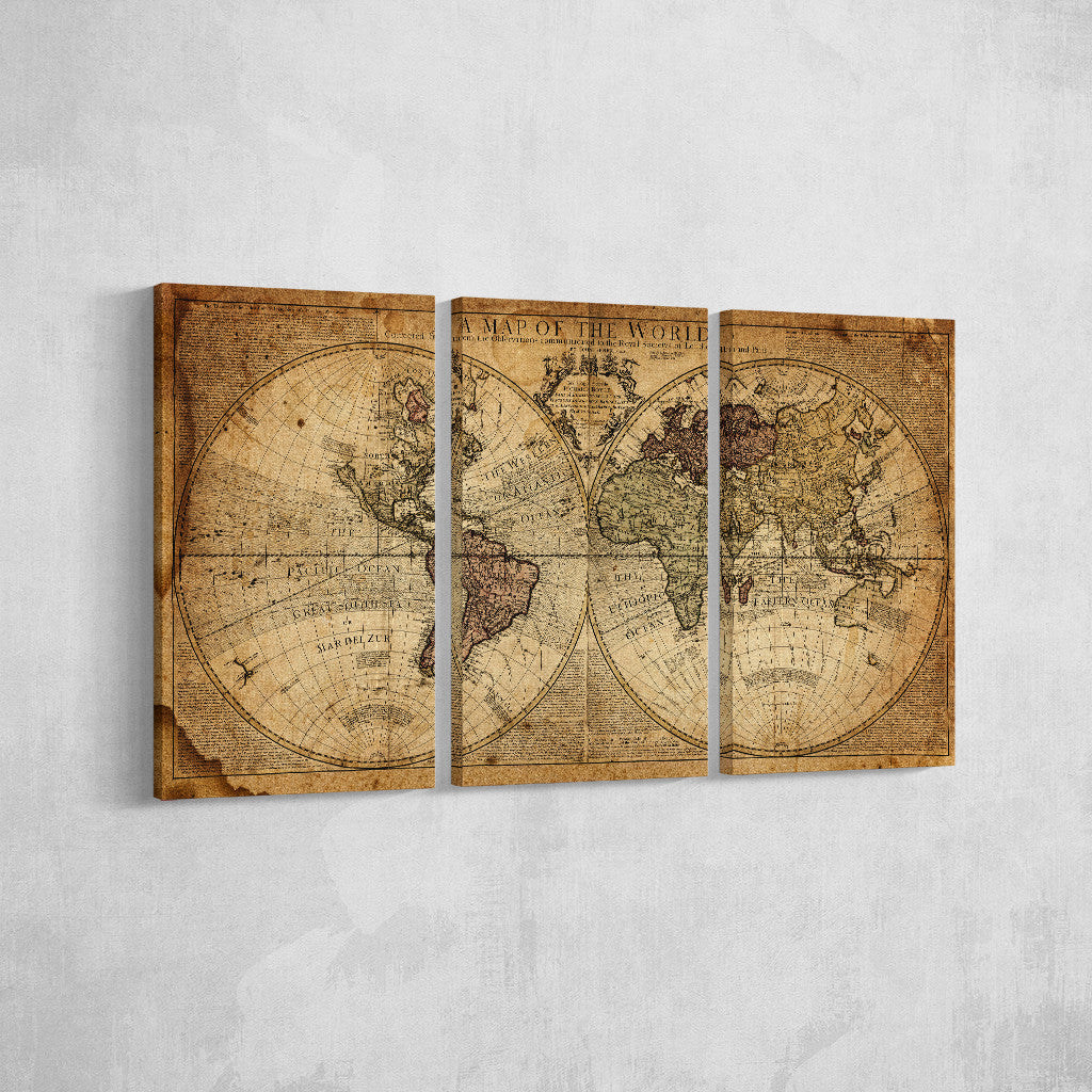 Vintage World Map _3 Piece Split Canvas