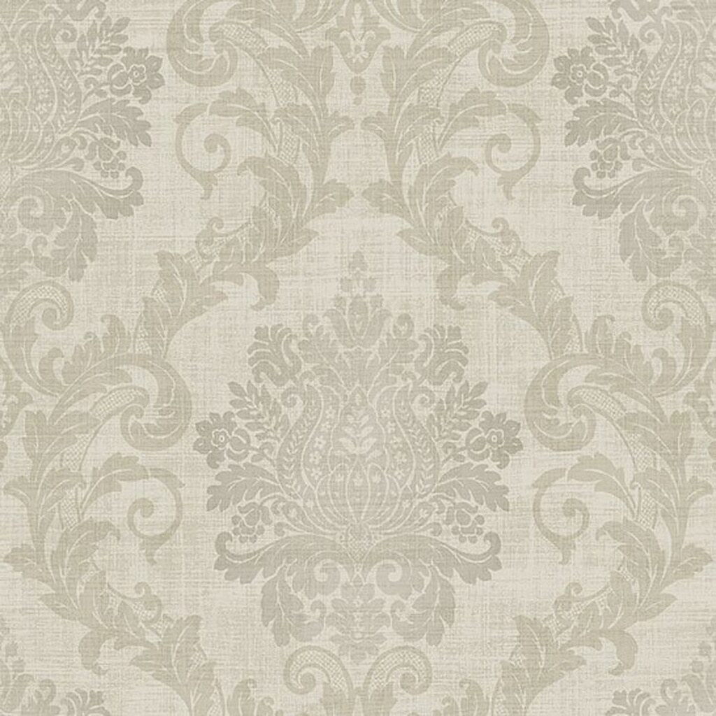 Slate & Biscuit Damask Wallpaper