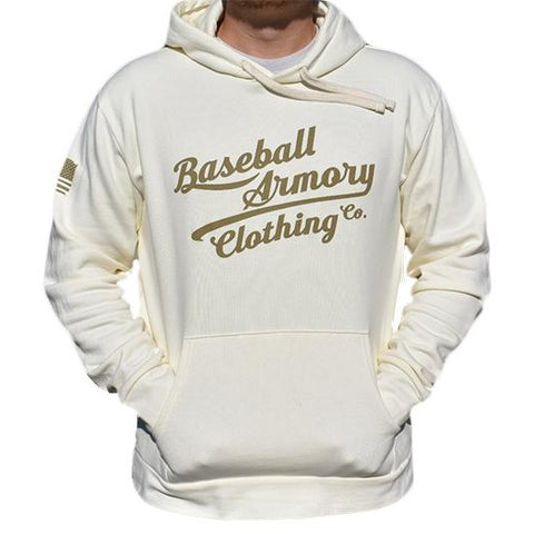 Throwback Fleece Hoodie Light Khaki - Baseball Armory Clothing Co.