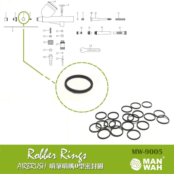 Manwah Airbrush Replacement O Rings (2 pieces)