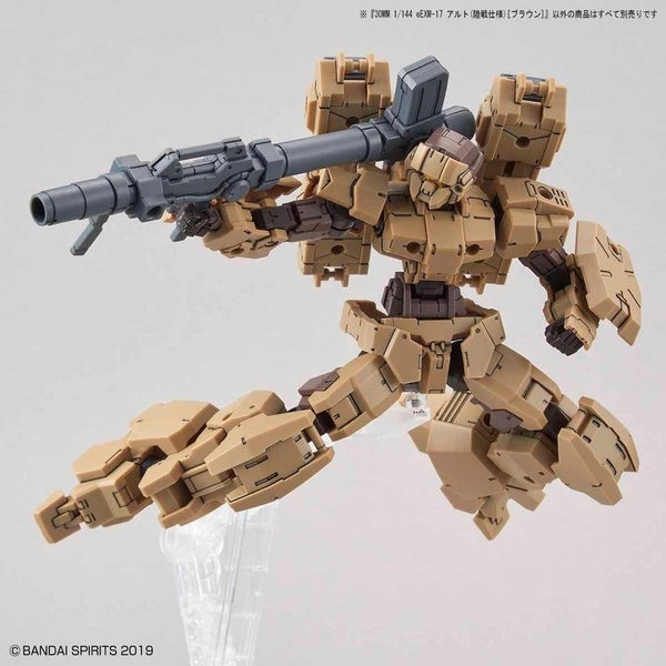 Bandai 1/144 NG 30MM EEXM-17 Alto Ground Type (Brown) action pose with weapon.