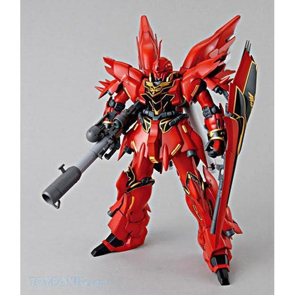 Bandai 1/100 MG MSN-06S Sinanju (ANIME COLOUR VER.) front on view.