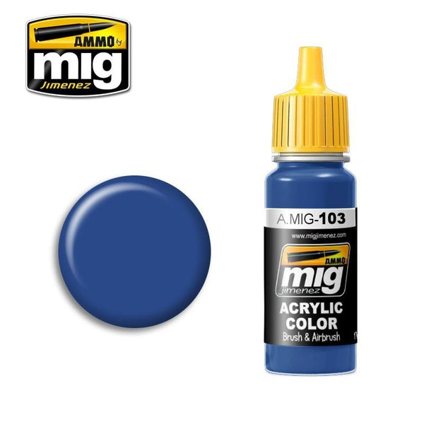 MEDIUM BLUE. High quality paint for Brushes and Airbrush. 17mL jar