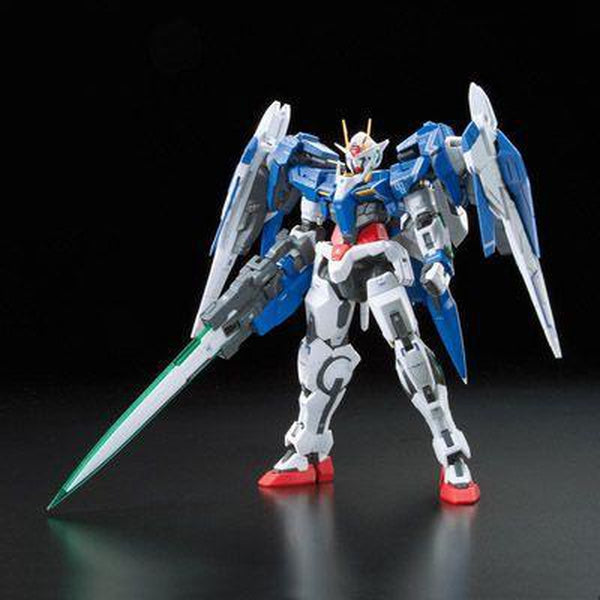 Bandai 1/144 RG - 00 Raiser - Celestial Being Mobile Suit -  GN-0000+GNR-010 pose 1