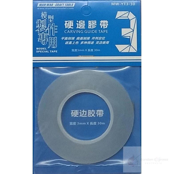 Manwah Carving Guide Tape w/ hard-edge (3mm x 30m, Clear)