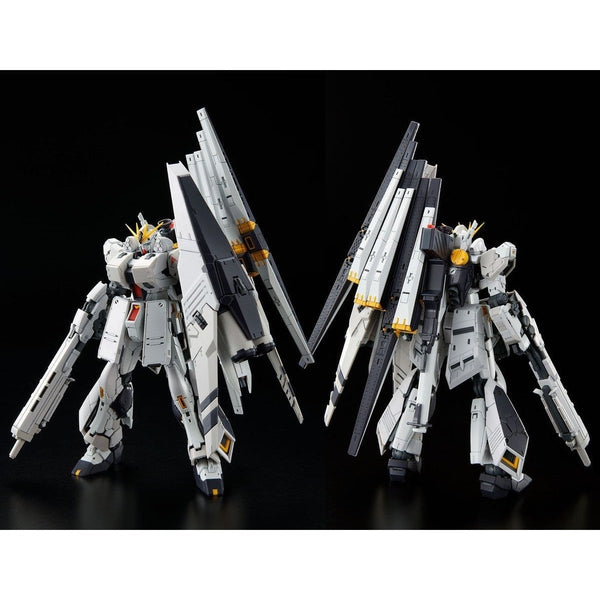 P-Bandai RG 1/144 Nu Gundam HWS front on view & rear view.
