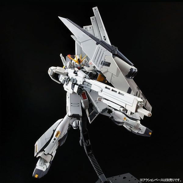 P-Bandai RG 1/144 Nu Gundam HWS action pose with weapon.