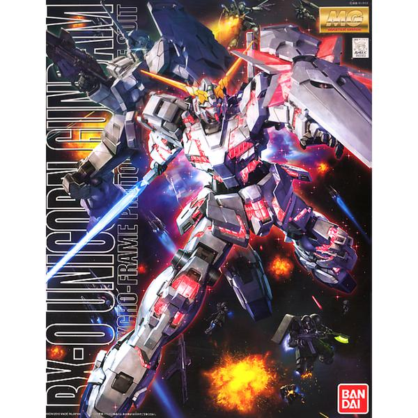 Bandai 1/100 MG RX-0 Unicorn Gundam Full Psycho-Frame Prototype Mobility Suit (Re-issued) package artwork