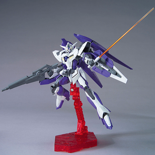 Bandai 1/144 HG00 1.5 Gundam action pose with weapon.