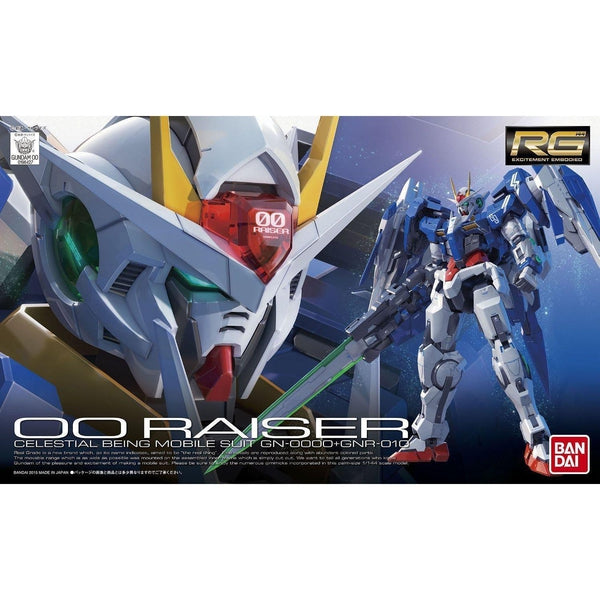 Bandai 1/144 RG - 00 Raiser - Celestial Being Mobile Suit -  GN-0000+GNR-010 package art