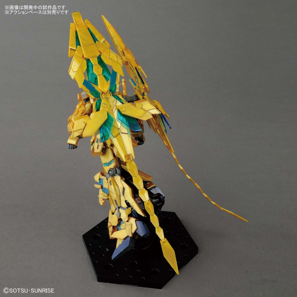 Bandai 1/144 HG Gundam Unicorn Phenex (NT Ver.) rear view flight