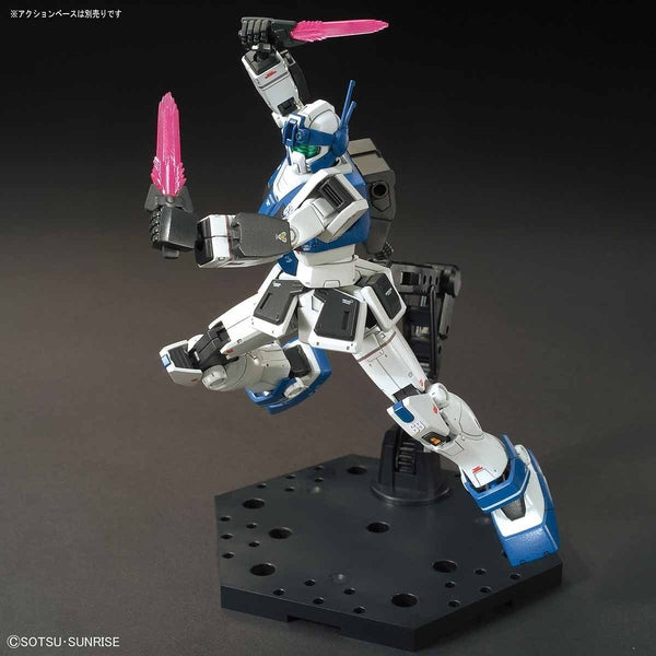 Bandai 1/144 HG GM Guard Custom action pose with weapon.