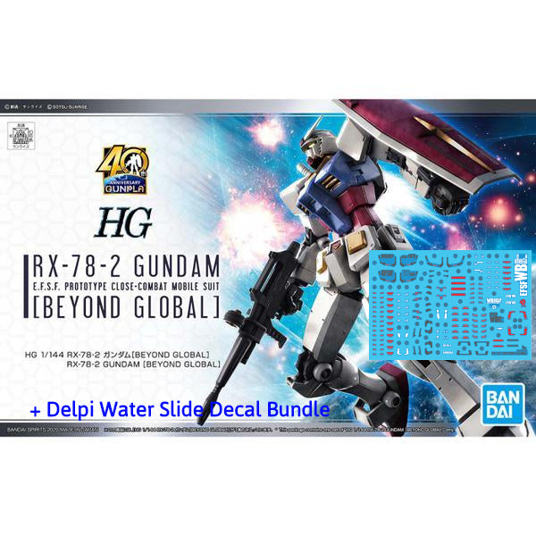Bandai 1/144 HG RX-78-2 Gundam (Beyond Global) + Delpi Water Slide Decal Bundle