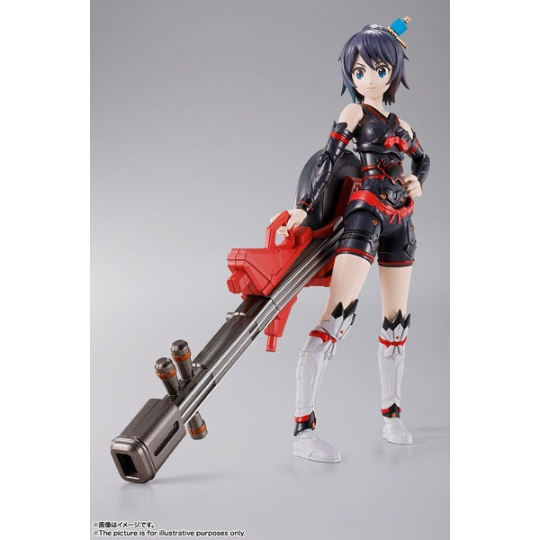 Bandai S.H Figuarts Tamashii Girl Aoi action pose with weapon.