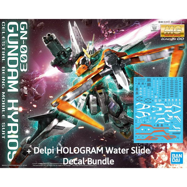 Bandai 1/100 MG GN-003 Gundam Kyrios + Delpi Hologram Water Slide Decal Bundle