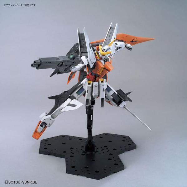 Bandai 1/100 MG GN-003 Gundam Kyrios action pose with weapon.
