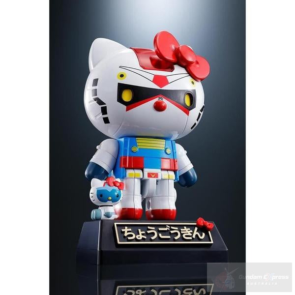 Chogokin Gundam RX-78-2 Hello Kitty front on view.