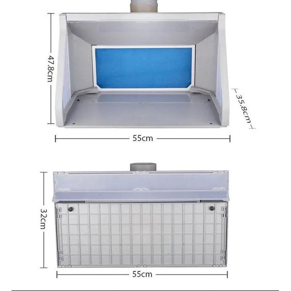 Spray Booth with LED Light and Dual Fans dimensions