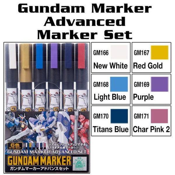Gundam Marker - Advanced Set package and colour swatch