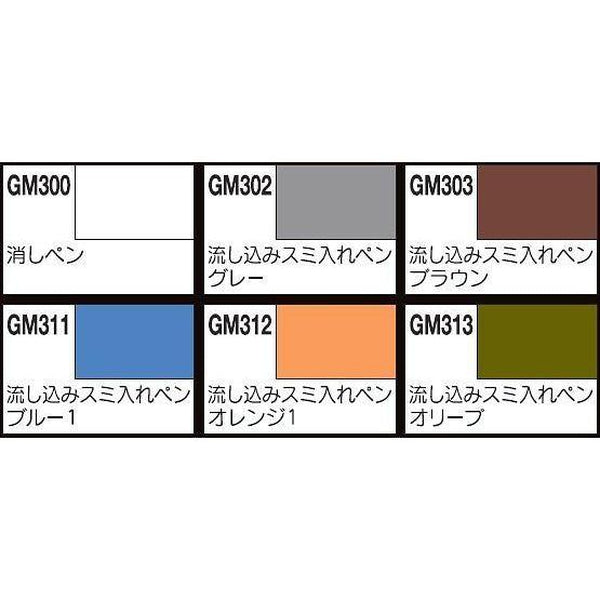 Gundam Marker Extra Fine Type for Panel Lines Set colours included