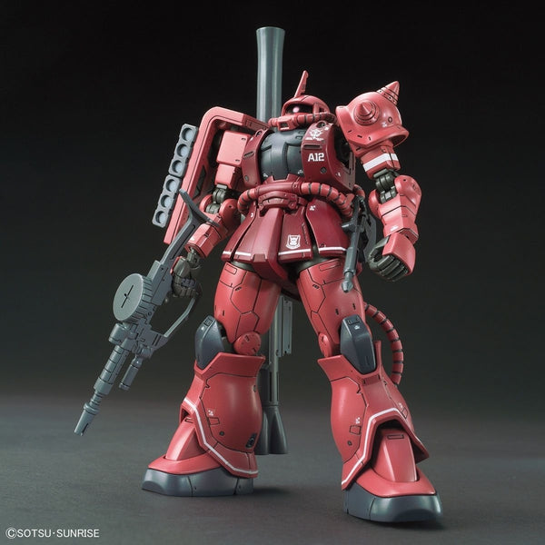 Bandai 1/144 HG Zaku II Red Comet Ver front view with weapon