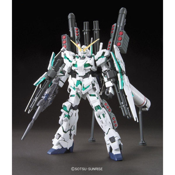 Bandai Gundam 1/144 HGUC RX-0 Full Armour Unicorn Gundam Destroy Mode (Green) front pose