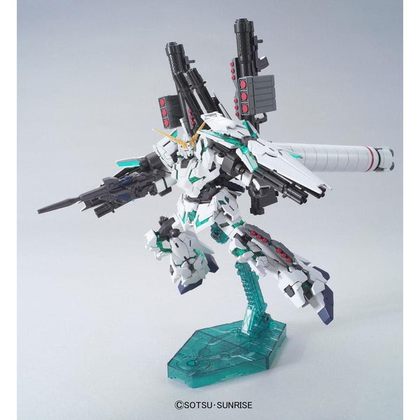 Bandai Gundam 1/144 HGUC RX-0 Full Armour Unicorn Gundam Destroy Mode (Green) action pose