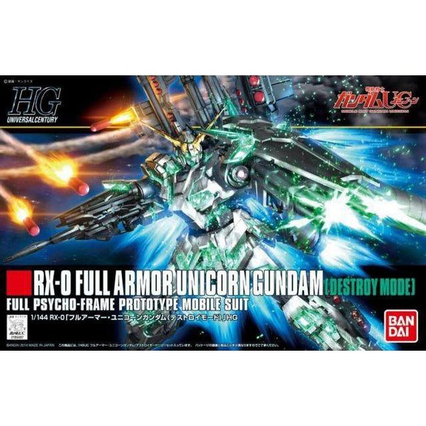 Bandai Gundam 1/144 HGUC RX-0 Full Armour Unicorn Gundam Destroy Mode (Green) package art