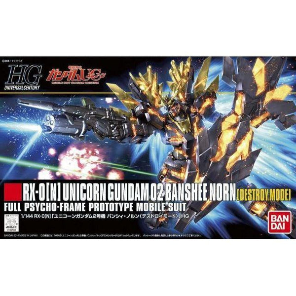Bandai 1/144 HGUC RX-0[N] Unicorn Gundam 02 Banshee Norn (Destroy Mode) package art