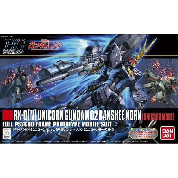 Bandai 1/144 HGUC RX-0[N] Unicorn Gundam 02 Banshee Norn (Unicorn Mode) package artwork