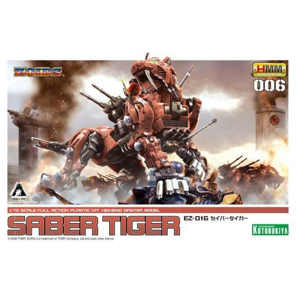 Kotobukiya 1/72 Zoids HMM EZ-016 Saber Tiger Markings Plus Ver.  package artwork