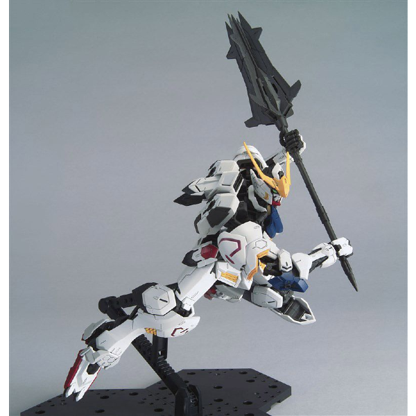 Bandai 1/100 MG Barbatos 4th Form action pose with weapon.