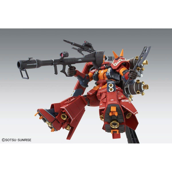 "Bandai 1/100 MG MS-06R Zaku II High Mobility Type ""Psycho Zaku Gundam Thunderbolt Ver Ka action pose on stand"