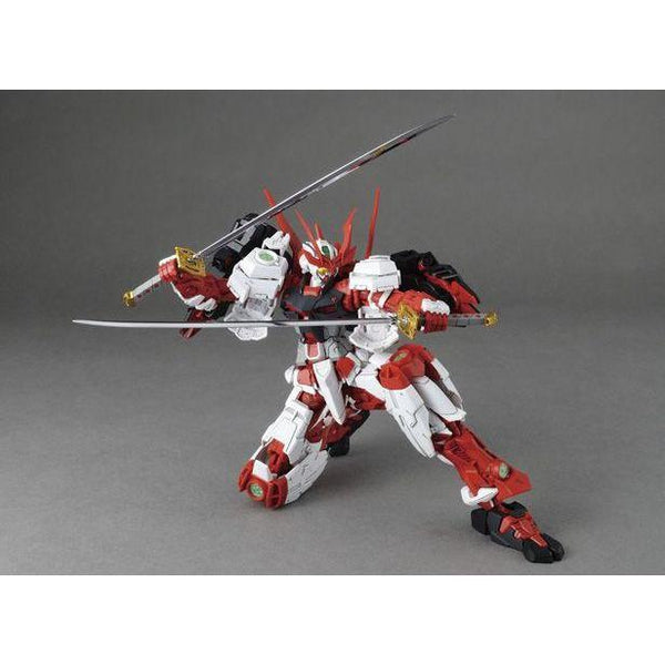 Bandai 1/100 MGBF Sengoku Astray Gundam with weapons kneeling