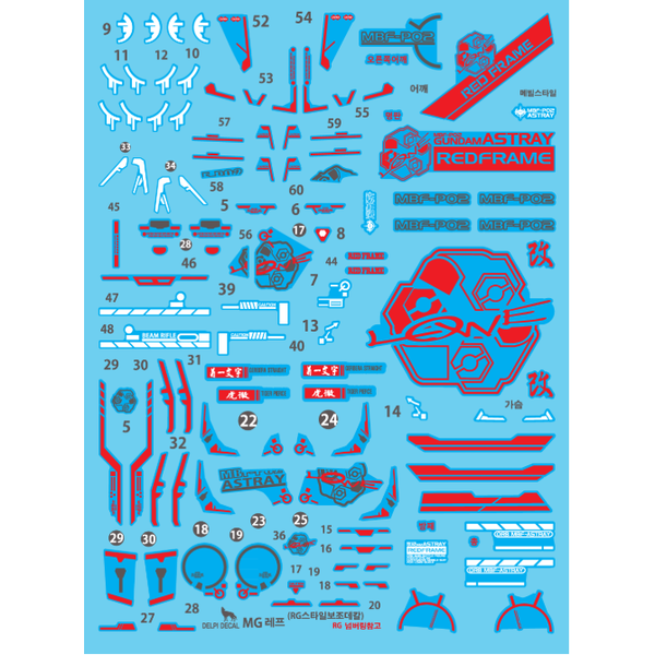 Delpi 1/100 MG Astray Red Frame Kai Water Slide Decal