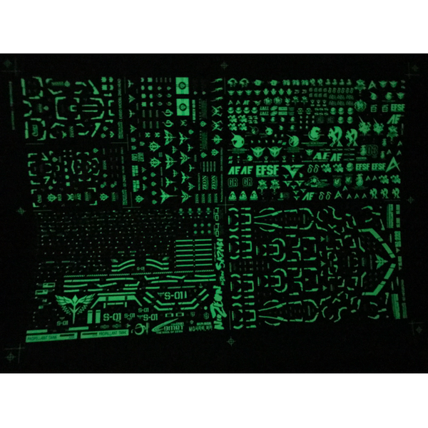 Delpi 1/100 MG Sazabi Luminous Water Slide Decal in dark space