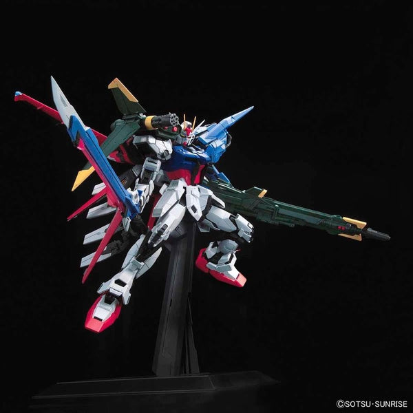 PRE-ORDER Bandai 1/60 PG Perfect Strike Gundam action pose with weapon.